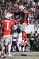 Jan 1, 2019; Pasadena, CA, USA; Ohio State Buckeyes wide receiver Parris Campbell (21) celebrates making a catch for a touchdown in the first quarter against the Washington Huskies in the 2019 Rose Bowl at Rose Bowl Stadium. Mandatory Credit: Kelvin Kuo-USA TODAY Sports