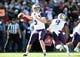 Jan 1, 2019; Pasadena, CA, USA; Washington Huskies quarterback Jake Browning (3) passes against the Ohio State Buckeyes in the first quarter in the 2019 Rose Bowl at Rose Bowl Stadium. Mandatory Credit: Gary A. Vasquez-USA TODAY Sports