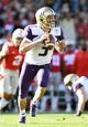 Jan 1, 2019; Pasadena, CA, USA; Washington Huskies quarterback Jake Browning (3) looks to pass against the Ohio State Buckeyes in the first quarter in the 2019 Rose Bowl at Rose Bowl Stadium. Mandatory Credit: Gary A. Vasquez-USA TODAY Sports