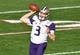Jan 1, 2019; Pasadena, CA, USA; Washington Huskies quarterback Jake Browning (3) throws a pass against the Ohio State Buckeyes in the second quarter in the 2019 Rose Bowl at Rose Bowl Stadium. Mandatory Credit: Robert Hanashiro-USA TODAY Sports