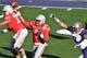 Jan 1, 2019; Pasadena, CA, USA; Ohio State Buckeyes quarterback Dwayne Haskins (7) throws against the Washington Huskies in the first half in the 2019 Rose Bowl at Rose Bowl Stadium. Mandatory Credit: Robert Hanashiro-USA TODAY Sports
