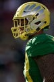 Dec 31, 2018; Santa Clara, CA, USA; Oregon Ducks defensive lineman Austin Faoliu (99) waits for the next play against the Michigan State Spartans during the second quarter at Levi's Stadium. Mandatory Credit: Stan Szeto-USA TODAY Sports