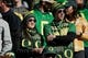 Dec 31, 2018; Santa Clara, CA, USA; Oregon Ducks fans watch the players warm up before the game against the Michigan State Spartans at Levi's Stadium. Mandatory Credit: Stan Szeto-USA TODAY Sports