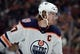 January 6, 2019; Anaheim, CA, USA; Edmonton Oilers center Connor McDavid (97) during a stoppage in play against the Anaheim Ducks in the first period at Honda Center. Mandatory Credit: Gary A. Vasquez-USA TODAY Sports
