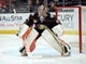 January 6, 2019; Anaheim, CA, USA; Anaheim Ducks goaltender John Gibson (36) defends the goal against the Edmonton Oilers during the first period at Honda Center. Mandatory Credit: Gary A. Vasquez-USA TODAY Sports