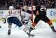 January 6, 2019; Anaheim, CA, USA; Edmonton Oilers goaltender Cam Talbot (33) blocks a shot against Anaheim Ducks right wing Ondrej Kase (25) during the second period at Honda Center. Mandatory Credit: Gary A. Vasquez-USA TODAY Sports
