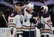 January 6, 2019; Anaheim, CA, USA; Edmonton Oilers goaltender Cam Talbot (33) right wing Zack Kassian (44) and center Joseph Gambardella (45) celebrate the 4-0 shutout victory against the Anaheim Ducks at Honda Center. Mandatory Credit: Gary A. Vasquez-USA TODAY Sports