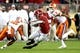 Jan 7, 2019; Santa Clara, CA, USA; Alabama Crimson Tide running back Josh Jacobs (8) runs the ball against Clemson Tigers defensive back K'Von Wallace (12) during the first half during the 2019 College Football Playoff Championship game at Levi's Stadium. Mandatory Credit: Matthew Emmons-USA TODAY Sports