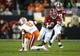 Jan 7, 2019; Santa Clara, CA, USA; Alabama Crimson Tide running back Josh Jacobs (8) runs against Clemson Tigers cornerback A.J. Terrell (8) in the second quarter during the 2019 College Football Playoff Championship game at Levi's Stadium. Mandatory Credit: Mark Rebilas-USA TODAY Sports