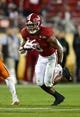 Jan 7, 2019; Santa Clara, CA, USA; Alabama Crimson Tide running back Josh Jacobs (8) runs with the ball against the Clemson Tigers during the 2019 College Football Playoff Championship game at Levi's Stadium. Mandatory Credit: Matthew Emmons-USA TODAY Sports