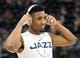 Jan 11, 2019; Salt Lake City, UT, USA; Utah Jazz guard Donovan Mitchell (45) prior to a game against the Los Angeles Lakers at Vivint Smart Home Arena. Mandatory Credit: Russ Isabella-USA TODAY Sports
