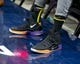 Jan 11, 2019; Salt Lake City, UT, USA; A detail photo of shoes worn by Los Angeles Lakers center Tyson Chandler (5) prior to a game against the Utah Jazz at Vivint Smart Home Arena. Mandatory Credit: Russ Isabella-USA TODAY Sports