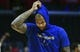 Jan 18, 2019; Los Angeles, CA, USA; Golden State Warriors center DeMarcus Cousins (0) adjust his hood during a pregame warmup session before his first game back from injury against the Los Angeles Clippers at Staples Center. Mandatory Credit: Robert Hanashiro-USA TODAY Sports