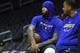 Jan 18, 2019; Los Angeles, CA, USA; Golden State Warriors center DeMarcus Cousins (0) waits to take the court for a pregame shooting session with Warriors assistant coach Jarron Collins at Staples Center. Cousins was preparing to play in first first game back from an injury against the Los Angeles Clippers. Mandatory Credit: Robert Hanashiro-USA TODAY Sports