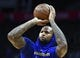 Jan 18, 2019; Los Angeles, CA, USA; Golden State Warriors center DeMarcus Cousins (0) shoots before his first game back from injury at Staples Center. The Warriors play the Los Angeles Clippers. Mandatory Credit: Robert Hanashiro-USA TODAY Sports