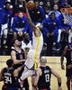 Jan 18, 2019; Los Angeles, CA, USA; Golden State Warriors center DeMarcus Cousins (0) hangs in the air on his way to a one-handed slam dunk in the first quarter against the Los Angeles Clippers at Staples Center. Mandatory Credit: Robert Hanashiro-USA TODAY Sports