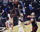 Jan 18, 2019; Los Angeles, CA, USA; Golden State Warriors forward Kevin Durant (left) and Warriors center DeMarcus Cousins (0) reach for a rebound during the first quarter against the Los Angeles Clippers at Staples Center. Left is Golden State Warriors guard Stephen Curry (30), right is Los Angeles Clippers center Marcin Gortat (13). Mandatory Credit: Robert Hanashiro-USA TODAY Sports