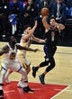 Jan 18, 2019; Los Angeles, CA, USA; Los Angeles Clippers forward Danilo Gallinari (8) passes the ball defended by Golden State Warriors guard Klay Thompson (11) and Golden State Warriors forward Draymond Green (23) at Staples Center. Mandatory Credit: Robert Hanashiro-USA TODAY Sports
