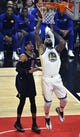 Jan 18, 2019; Los Angeles, CA, USA; Golden State Warriors center DeMarcus Cousins (0) puts up a shot past Los Angeles Clippers forward Tobias Harris (34) during the first quarter at Staples Center. Mandatory Credit: Robert Hanashiro-USA TODAY Sports