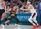 Jan. 26, 2019; Portland, OR, USA; Atlanta Hawks guard Trae Young (11) dribbles around Portland Trail Blazers guard Seth Curry (31) during the first quarter at the Moda Center. Mandatory Credit: Craig Mitchelldyer-USA TODAY Sports