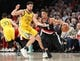 Feb 13, 2019; Portland, OR, USA; Golden State Warriors guard Klay Thompson (11) defends Portland Trail Blazers guard CJ McCollum (3) in the first half at Moda Center. Mandatory Credit: Jaime Valdez-USA TODAY Sports