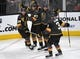 Feb 16, 2019; Las Vegas, NV, USA; Vegas Golden Knights players come together to celebrate after a goal by left wing Max Pacioretty (67) during the first period against the Nashville Predators at T-Mobile Arena. Mandatory Credit: Stephen R. Sylvanie-USA TODAY Sports