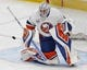 Feb 21, 2019; Edmonton, Alberta, CAN; New York Islanders goaltender Robin Lehner (40) makes a save during warmup before a game against the Edmonton Oilers at Rogers Place. Mandatory Credit: Perry Nelson-USA TODAY Sports