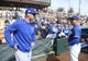 Feb 25, 2019; Phoenix, AZ, USA; Chicago Cubs coach David Ross (left) and Los Angeles Dodgers manager Dave Roberts (30) talk prior to the game at Camelback Ranch. Mandatory Credit: Joe Camporeale-USA TODAY Sports