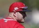 Mar 1, 2019; Tempe, AZ, USA; Los Angeles Angels center fielder Mike Trout (27) warms up before a spring training game against the Kansas City Royals at Tempe Diablo Stadium. Mandatory Credit: Rick Scuteri-USA TODAY Sports