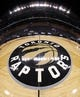 Mar 1, 2019; Toronto, Ontario, CAN; A general view of the Toronto Raptors logo at center court before the start of a game between the Raptors and the Portland Trail Blazers at Scotiabank Arena. Mandatory Credit: Tom Szczerbowski-USA TODAY Sports