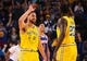 Mar 10, 2019; Oakland, CA, USA; Golden State Warriors guard Klay Thompson (11) celebrates with forward Draymond Green (23) after a basket against the Phoenix Suns during the first quarter at Oracle Arena. Mandatory Credit: Kelley L Cox-USA TODAY Sports