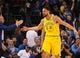 Mar 10, 2019; Oakland, CA, USA; Golden State Warriors guard Klay Thompson (11) celebrates after a basket against the Phoenix Suns during the first quarter at Oracle Arena. Mandatory Credit: Kelley L Cox-USA TODAY Sports