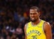 Mar 10, 2019; Oakland, CA, USA; Golden State Warriors forward Kevin Durant (35) reacts after being fouled in game against the Phoenix Suns during the third quarter at Oracle Arena. Mandatory Credit: Kelley L Cox-USA TODAY Sports