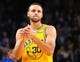 Mar 10, 2019; Oakland, CA, USA; Golden State Warriors guard Stephen Curry (30) reacts between plays against the Phoenix Suns during the fourth quarter at Oracle Arena. Mandatory Credit: Kelley L Cox-USA TODAY Sports
