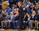 Mar 10, 2019; Oakland, CA, USA; Golden State Warriors head coach Steve Kerr reacts after a call against the Phoenix Suns during the fourth quarter at Oracle Arena. Mandatory Credit: Kelley L Cox-USA TODAY Sports
