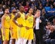 Mar 10, 2019; Oakland, CA, USA; Golden State Warriors players and head coach Steve Kerr await an officials review during the fourth quarter against the Phoenix Suns at Oracle Arena. Mandatory Credit: Kelley L Cox-USA TODAY Sports