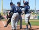 Mar 13, 2019; Goodyear, AZ, USA; Milwaukee Brewers second baseman Keston Hiura (72) celebrates with left fielder Ben Gamel (16) and second baseman Nate Orf (70) after hitting a home run against the Cleveland Indians during the fifth inning at Goodyear Ballpark. Mandatory Credit: Joe Camporeale-USA TODAY Sports