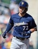 Mar 13, 2019; Goodyear, AZ, USA; Milwaukee Brewers second baseman Keston Hiura (72) runs the bases after hitting a home run against the Cleveland Indians during the fifth inning at Goodyear Ballpark. Mandatory Credit: Joe Camporeale-USA TODAY Sports