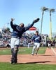 Mar 13, 2019; Goodyear, AZ, USA; Milwaukee Brewers catcher Jacob Nottingham bobbles and catches a pop up during the fifth inning against the Cleveland Indians at Goodyear Ballpark. Mandatory Credit: Joe Camporeale-USA TODAY Sports