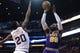 Mar 13, 2019; Phoenix, AZ, USA; Utah Jazz forward Jae Crowder (99) shoots over Phoenix Suns forward Josh Jackson (20) during the first half at Talking Stick Resort Arena. Mandatory Credit: Joe Camporeale-USA TODAY Sports