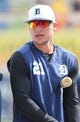 Mar 10, 2019; Lakeland, FL, USA; Detroit Tigers left fielder JaCoby Jones (21) works out prior to the game against the New York Yankees at Publix Field at Joker Marchant Stadium. Mandatory Credit: Kim Klement-USA TODAY Sports
