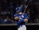 Mar 20, 2019; Mesa, AZ, USA; Los Angeles Dodgers center fielder A.J. Pollock (11) bats against the Chicago Cubs during the second inning at Sloan Park. Mandatory Credit: Joe Camporeale-USA TODAY Sports