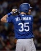 Mar 20, 2019; Mesa, AZ, USA; Los Angeles Dodgers center fielder Cody Bellinger (35) bats against the Chicago Cubs during the third inning at Sloan Park. Mandatory Credit: Joe Camporeale-USA TODAY Sports