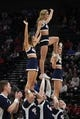 Mar 21, 2019; Salt Lake City, UT, USA; Gonzaga cheerleaders perform against the Fairleigh Dickinson Knights in the first round of the 2019 NCAA Tournament at Vivint Smart Home Arena. Mandatory Credit: Kirby Lee-USA TODAY Sports