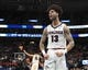 Mar 21, 2019; Salt Lake City, UT, USA; Gonzaga Bulldogs guard Josh Perkins (13) reacts in the first half against the Fairleigh Dickinson Knights in the first round of the 2019 NCAA Tournament at Vivint Smart Home Arena. Mandatory Credit: Kirby Lee-USA TODAY Sports