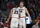 Mar 21, 2019; Salt Lake City, UT, USA; Gonzaga Bulldogs guard Zach Norvell Jr. (23) and forward Corey Kispert (24) celebrate against the Fairleigh Dickinson Knights during the first half in the first round of the 2019 NCAA Tournament at Vivint Smart Home Arena. Mandatory Credit: Kirby Lee-USA TODAY Sports