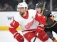 Mar 23, 2019; Las Vegas, NV, USA; Detroit Red Wings center Luke Glendening (41) skates during the first period against the Vegas Golden Knights at T-Mobile Arena. Mandatory Credit: Stephen R. Sylvanie-USA TODAY Sports