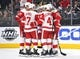 Mar 23, 2019; Las Vegas, NV, USA; Detroit Red Wing players come together to celebrate a goal scored by Detroit Red Wings center Luke Glendening (41) during the first period at T-Mobile Arena. Mandatory Credit: Stephen R. Sylvanie-USA TODAY Sports