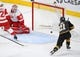 Mar 23, 2019; Las Vegas, NV, USA; Vegas Golden Knights center Cody Eakin (21) scores a second period power play goal against Detroit Red Wings goaltender Jimmy Howard (35) at T-Mobile Arena. Mandatory Credit: Stephen R. Sylvanie-USA TODAY Sports