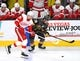 Mar 23, 2019; Las Vegas, NV, USA; Vegas Golden Knights right wing Reilly Smith (19) battles Detroit Red Wings right wing Anthony Mantha (39) for control of the puck during the second period at T-Mobile Arena. Mandatory Credit: Stephen R. Sylvanie-USA TODAY Sports
